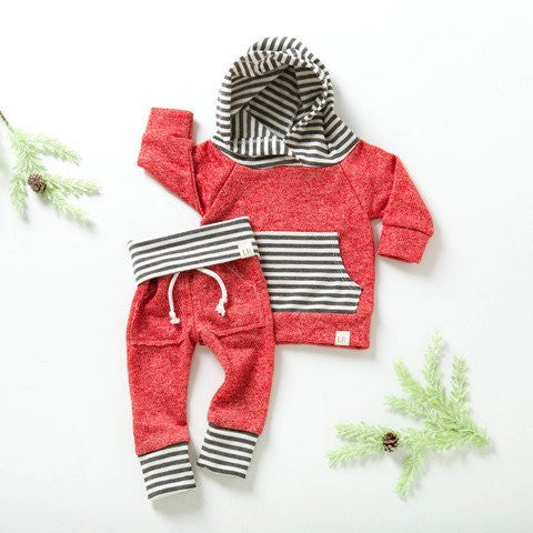 Red With Gray Stripes Kids Sweats