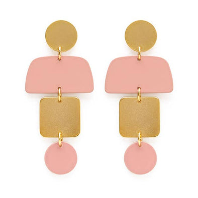 Geometric Stack Earrings In Blush
