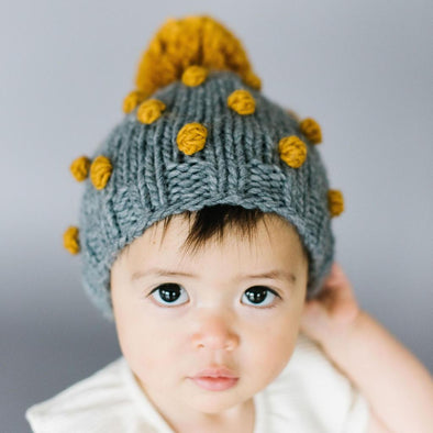 Popcorn Hat - Gray and Mustard