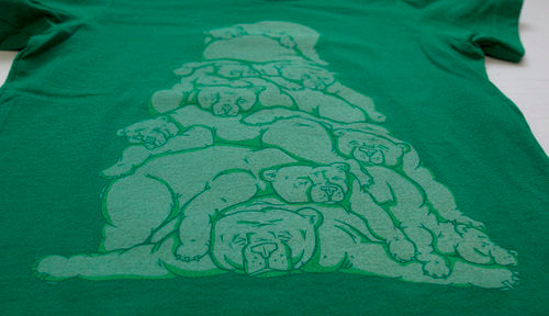 Green Bear Pile Tee-Toddler/Kids