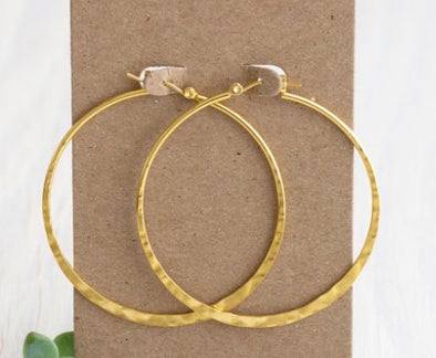 "2"" Hammered Hoop Earrings"