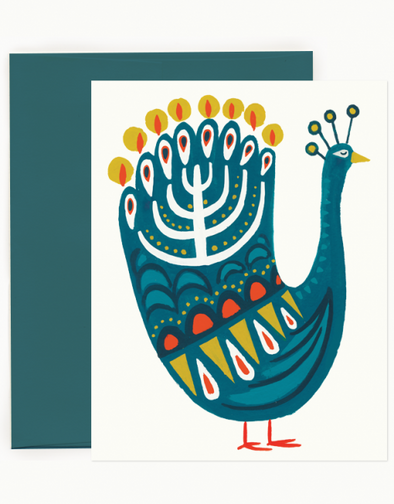 Hanukkah Peacock Greeting Card