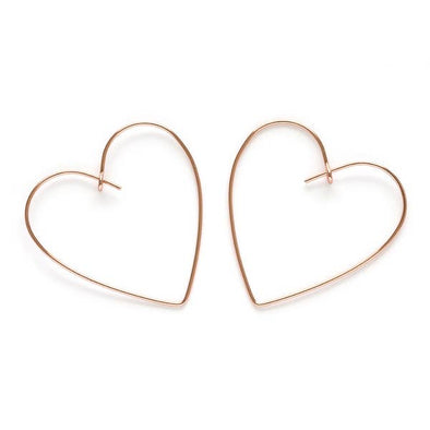 Heart Hoops 18K Rose Gold 1.5""