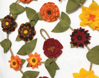Felt Flower Garland, Fall Flowers with Rustic Twine // By Red Marionette