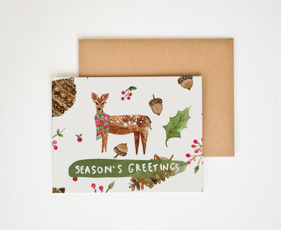 Happy Holidays Deer Greeting Card