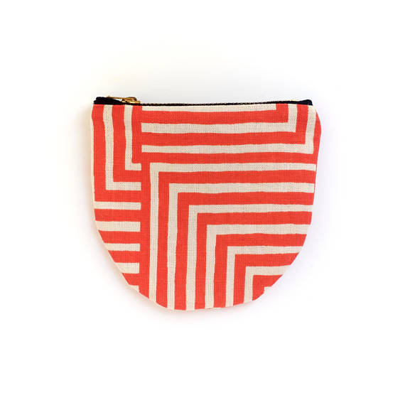 Poppy Red Maze Small Round Pouch- Geometric Modern Zip Wallet