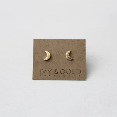 Crescent Moon Earrings - Yellow Gold-Fill