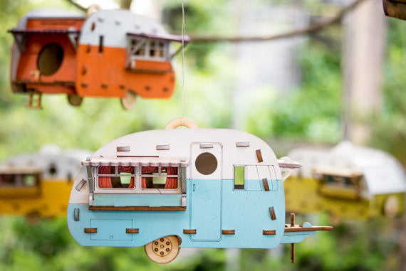 Vintage Camper Bird House, Natural Unpainted
