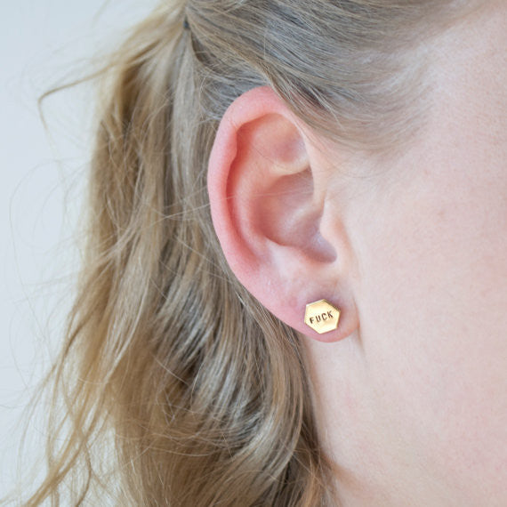 Fuck Yeah Brass Hexagon Studs