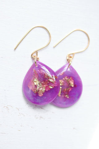 Large Bright Violet and Gold Leaf Teardrop Earrings// by Tiny Galaxies