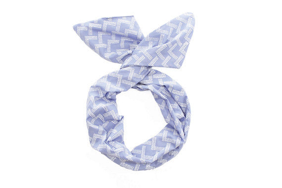 Twist Hair Scarf - Screenprinted Wire Headband - White Mountains on Periwinkle