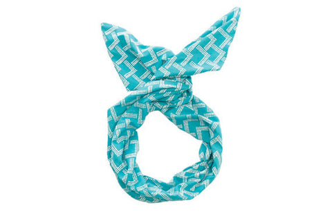Twist Hair Scarf - Screenprinted Wire Headband - White Mountains on Teal