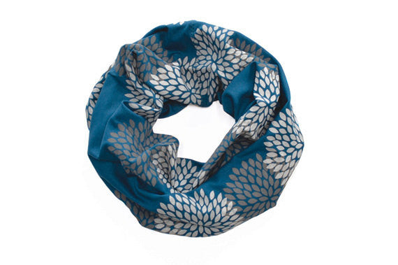 MINI INFINITY SCARF - Screen Printed - Double Flowers on Midnight Blue