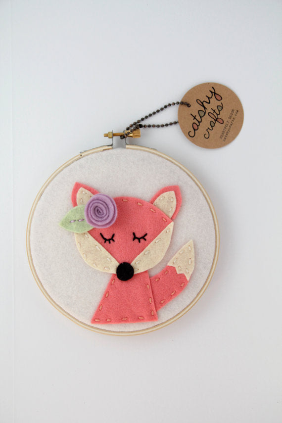 Coral Felt Fox Nursery Wall Art