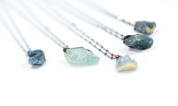 "24"" Aquamarine  Sterling Silver Necklace*"