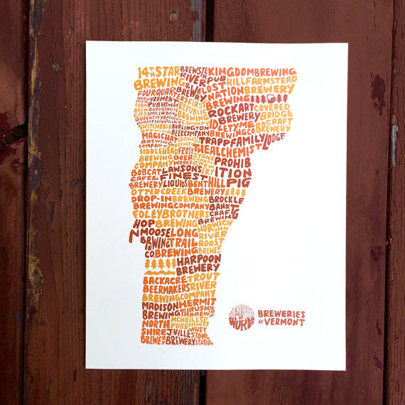 Breweries of Vermont 11x14 Art Print
