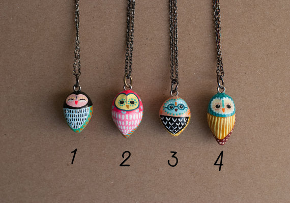Barn Owl Necklace Gunmetal Chain