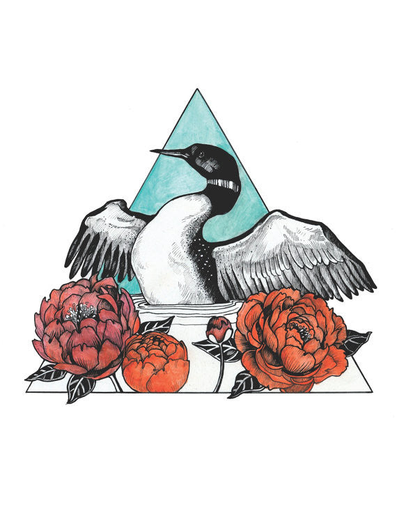Loon and Peonies Print