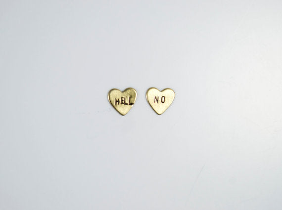 Hell No Heart Studs