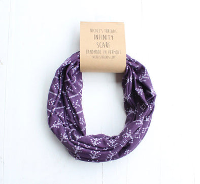 Plum Infinity Scarf w/ Cross Stitch Pattern
