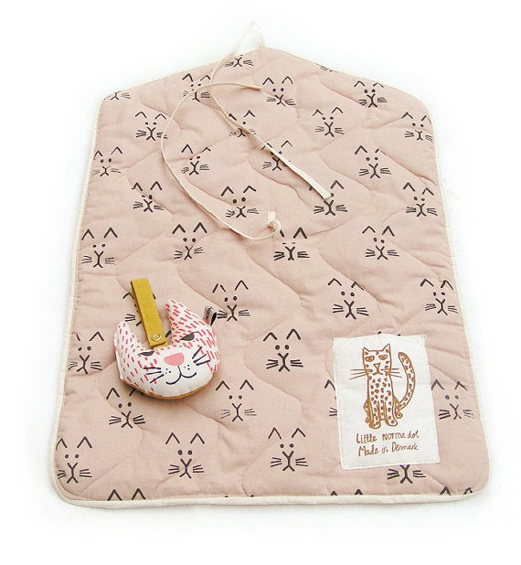 Changing Pad - Cat Print- Powder Rose
