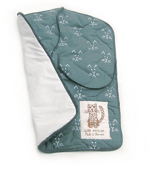 Changing Pad - Cat Print- Dusty Blue