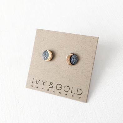Solar Eclipse Earrings, Sterling Silver and Gold Fill