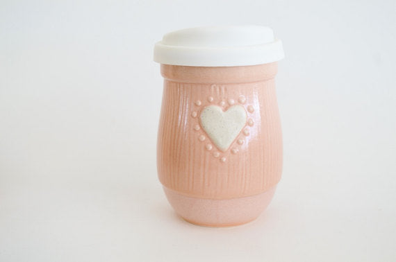 Ceramic Travel Mug with Lid- Pink with Heart- 16oz