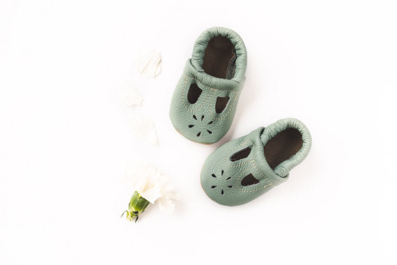Mint T-Strap Soft Soled Leather Shoes Baby and Toddler Shoes-Waterbury