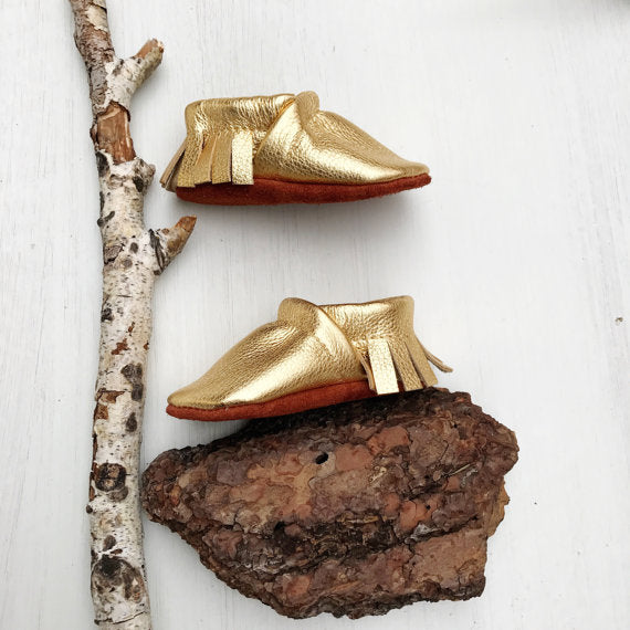 Gold Dust Moccs Fringe Soft Soled Leather Baby and Toddler
