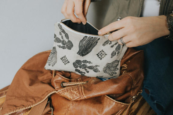 Black/Oatmeal Cactus Linen Pouch -Small