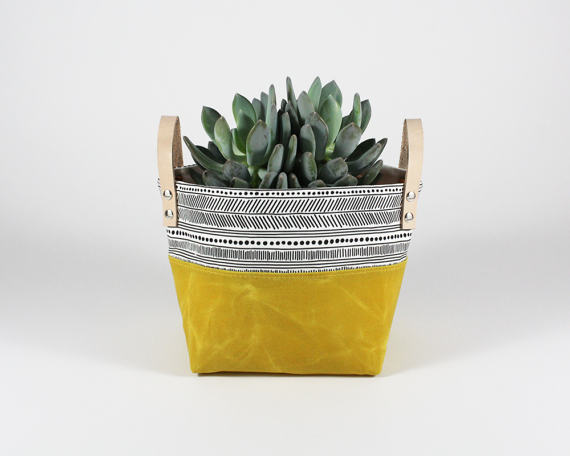 Marigold Waxed Canvas Fabric Basket