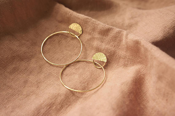 Abri Brass Hoop  Earrings