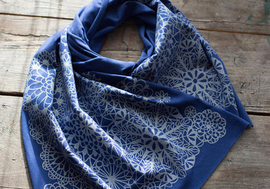Silver Lace Pattern Hand-Printed Bamboo Jersey Scarf - WATERBURY