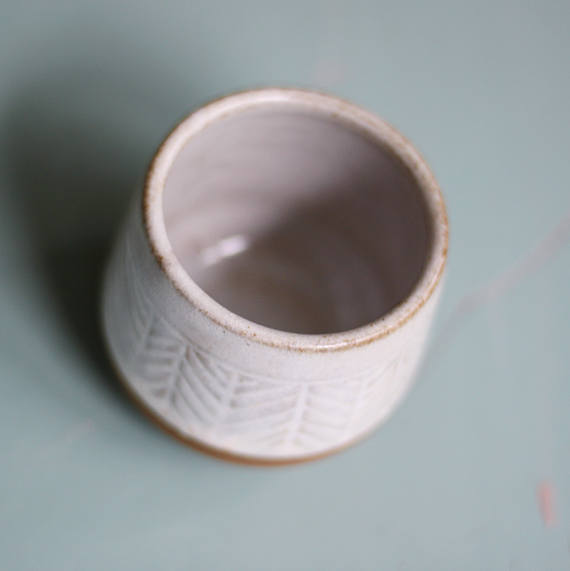 Stoneware Hand Carved Container