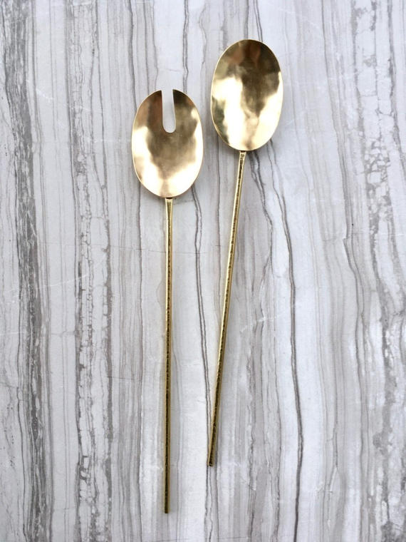 Serving Spoons // Brass Spoon and Fork Set