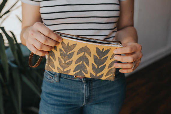 Athens Folded Clutch- Mustard