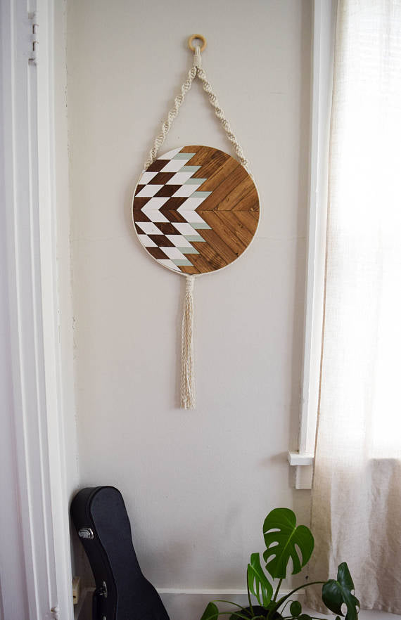 Wood and Macrame Wall Hanging with White/Teal -   // by Roaming Roots Studio