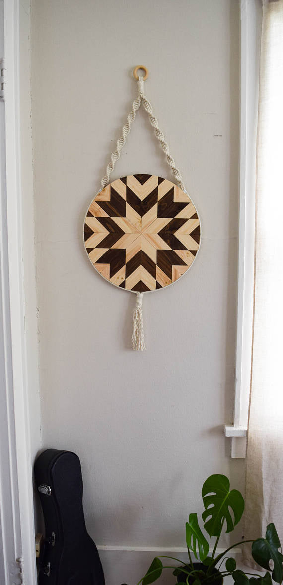 Wood and Macrame Wall Hanging -   // by Roaming Roots Studio - WATERBURY