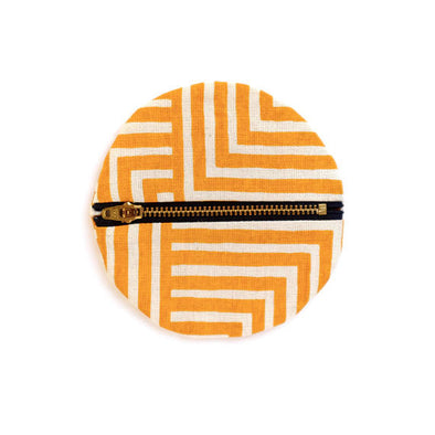 Golden Yellow Small Circle Pouch- Geometric Modern Wallet
