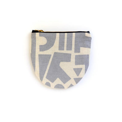 Grey Shapes Small Round Pouch- Geometric Modern Zip Wallet