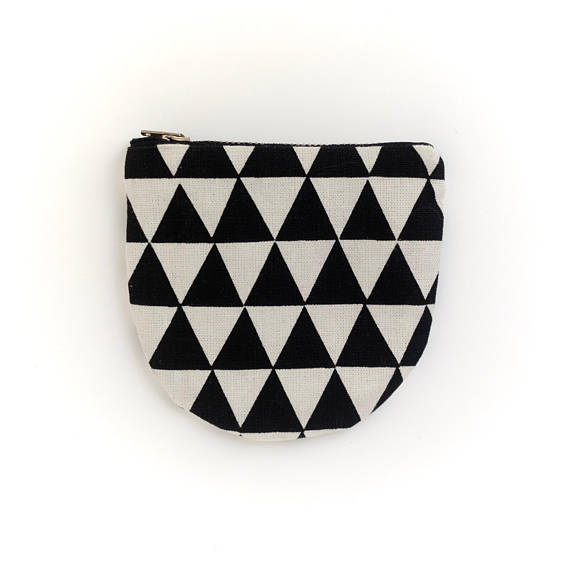 Black Triangles Small Round Pouch- Geometric Modern Zip Wallet