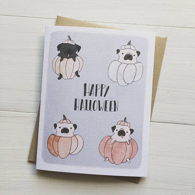 Halloween Pugs Greeting Card