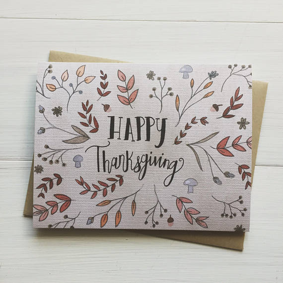 Happy Thanksgiving Floral Greeting Card