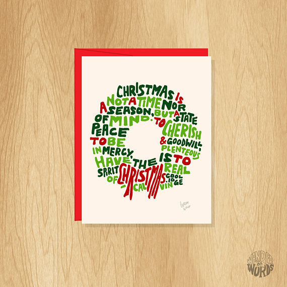 Wreath Christmas Card Pack 8-pack