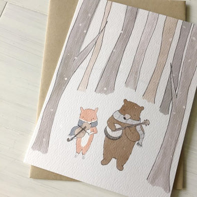 Winter Fox & Bear Greeting Card