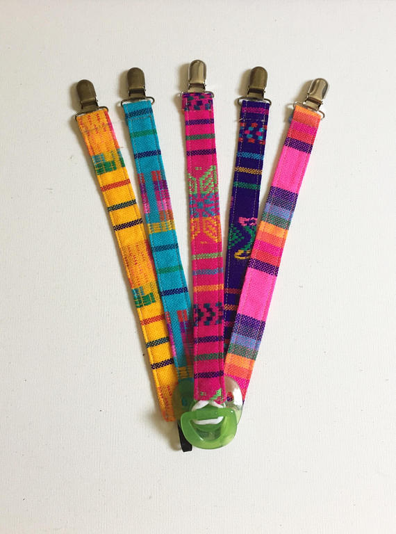 Pacifier Clips Mexican Cambaya   Serape Assorted colors