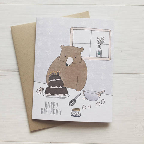 Baking Bear Birthday Greeting Card-Waterbury