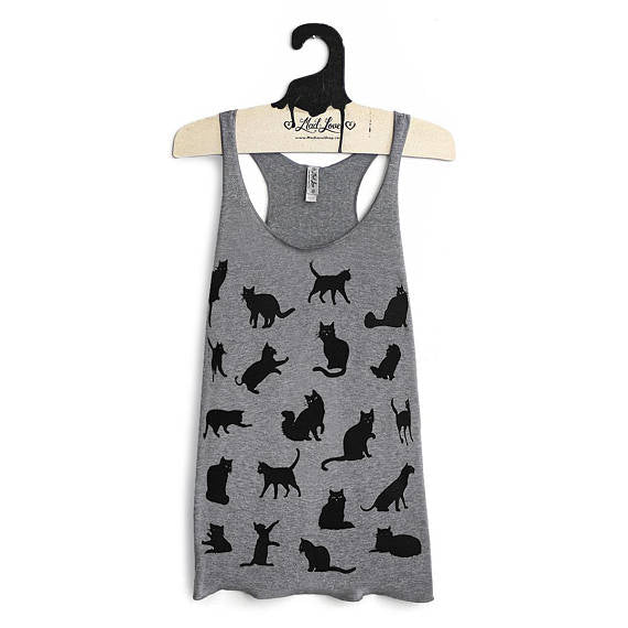 Cat Racer Back Tank-Grey and Black
