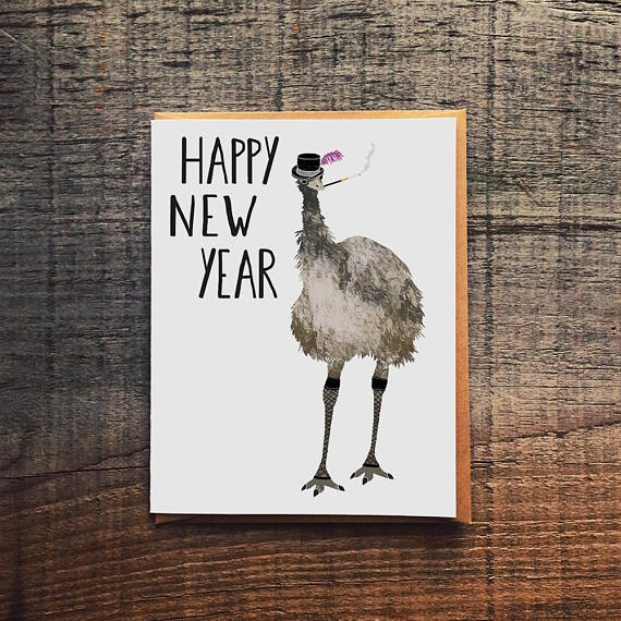 Happy New Year Emu Greeting Card